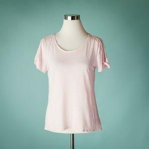 Athleta S Pink Zephyr Linen Twist Sleeve Top